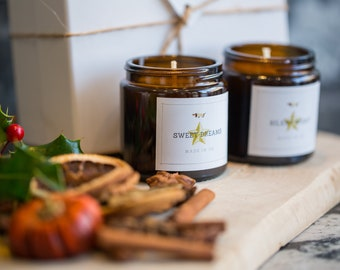 Gift Jars Scented Set Soy Wax Candle of Lavender & Lemongrass, Cinnamon and Orange by Ollie and Co