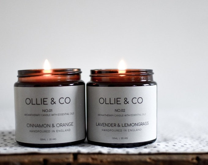 No.02 Lavender + Lemongrass Aromatherapy Candle with Essential Oils | Ollie + Co