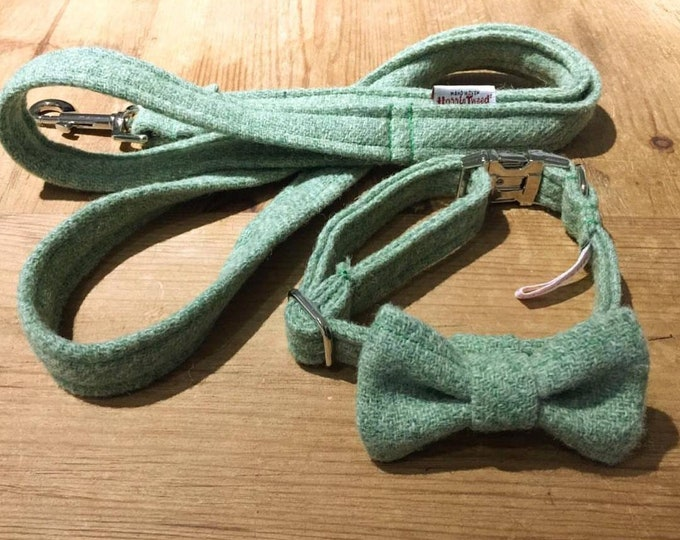 The Digby - Sage Green Harris Tweed Dog Collar with Bow Tie Christmas - Ollie & Co