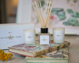 My Peaceful Home Gift Reed Diffuser with Aromatherapy Soy Wax Votives Set by Ollie & Co