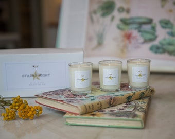 Starry Night Gift Votive Scented Set Soy Wax Candle of Eucalyptus, Peppermint, Rosemary, Orange by Ollie & Co