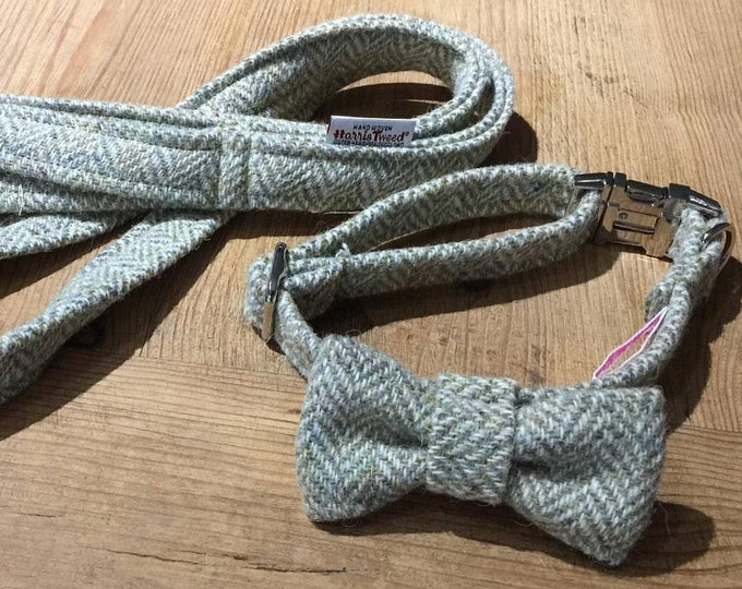 The Barnaby - Sage Green Harris Tweed Dog Collar with Bow Tie Christmas - Ollie & Co