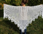 Lace shawl, knitted capelet, wedding white shawl wrap, cotton linen shawl