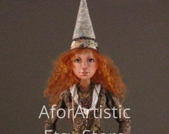 E-Class -Celeste: Paper Clay Cage Doll by Angela Jarecki, ODACA Artist