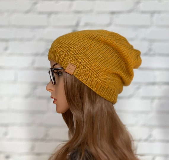 Vegan Unisex Knit Slouchy Hat, Mustard Yellow, Mens, Womens, READY TO SHIP