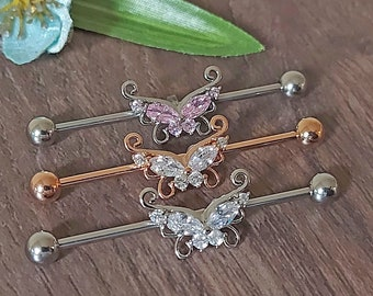 Industrial Piercing, Industrial barbell, Butterfly, Rose Gold, Ion Plated, Pink, Clear CZ, Scaffold 14Gauge, 1.6mm x 38mm, Cartilage Earring