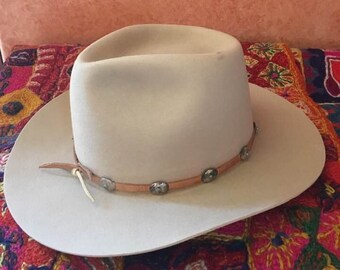 4b80c0d8a95d2 Vintage Men s Cowboy HAT STUDS by Dorfman Pacific Co 5XXXXX Beaver Quality  Cattleman Pinched Crown