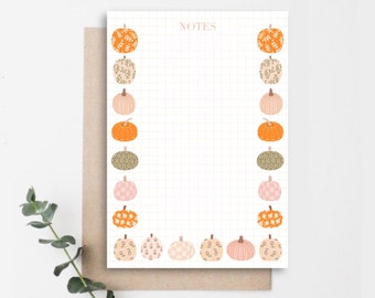 Pumpkin Mini Notepad A7 50 Pages Premium White Recycled Paper   Notes, Memopad, Stationery, Note taking, Fall Stationery