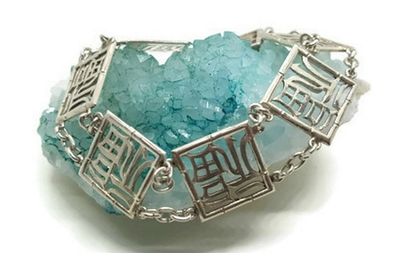Sterling Silver Chinese Symbols Bracelet  Taxco Jewelry for Women  Asian Themed Bohemian Accessories  Anniversary Birthday Gift for Her