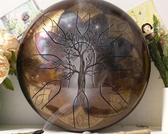 "15"" Steel Tongue Drum TREE of LIFE 9 notes (Handpan, Tank Drum, Tankdrum, Hand pan, Glukofon)"