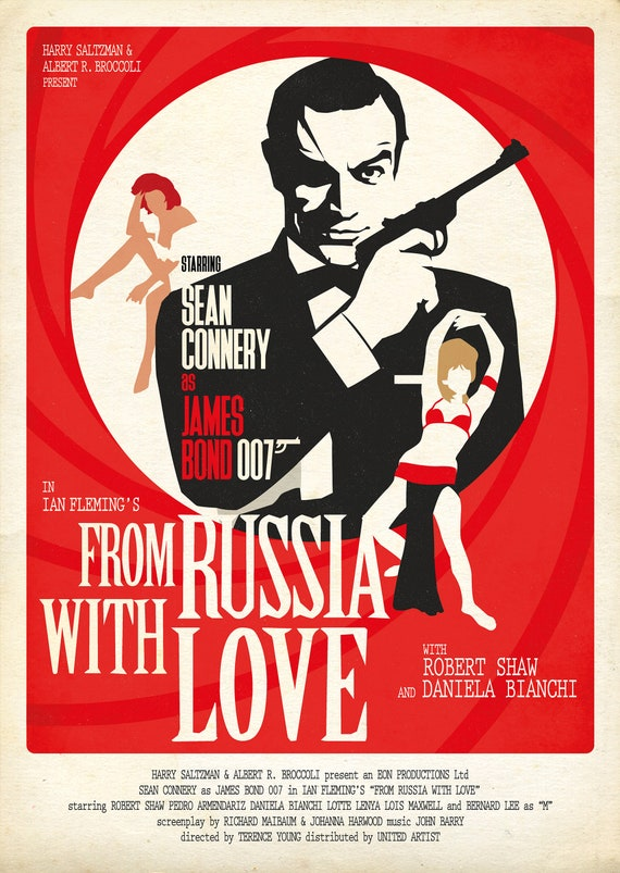 From Russia With Love Style Movie Poster Art Print | Etsy