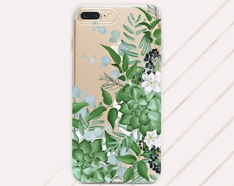 f461b7b44d9 Succulent Phone Case Cactus Blossom iPhone X Cover Iphone 8 Plus Green  Cactus floral Clear Case Iphone XS Apple Iphone XS max case Xr Iphone