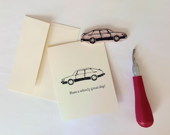 Saab 900 Note Card | hand carved and stamped blank greeting card