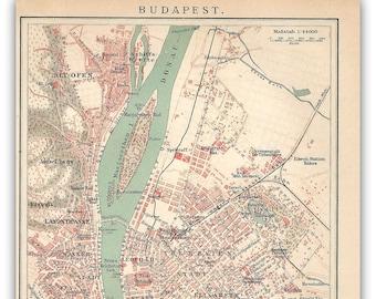 Vintage Budapest Map Etsy