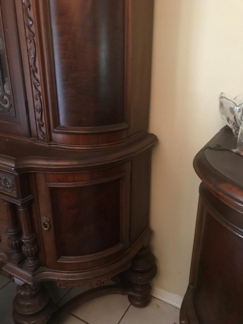 Antique Jacobean Revival 1925 Era Walnut Dining Room Set
