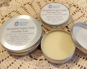 Menthol Vaporizing Chest Rub Cough and Sinus Relief All Organic & Natural