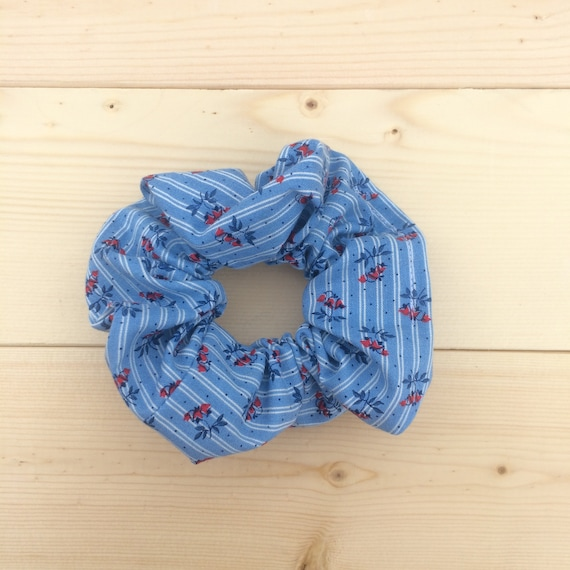 Blue Floral Vintage Scrunchie Gifts For Her 90s Fashion 90s Etsy