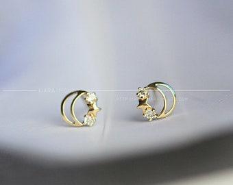 7e76ca350 9k Gold Classic Beautiful Japanese Star Moon Stud Earrings Simple Compact  Mini Earrings