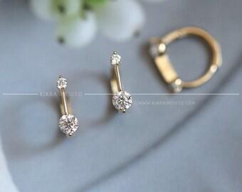 7b419b952 Ice Diamond Earrings, Gold Earrings, 9k Pure Gold Ear Studs, Gold Body  Jewellery, Chic Light Minimalist Jewelry, Zircon Earrings for Women
