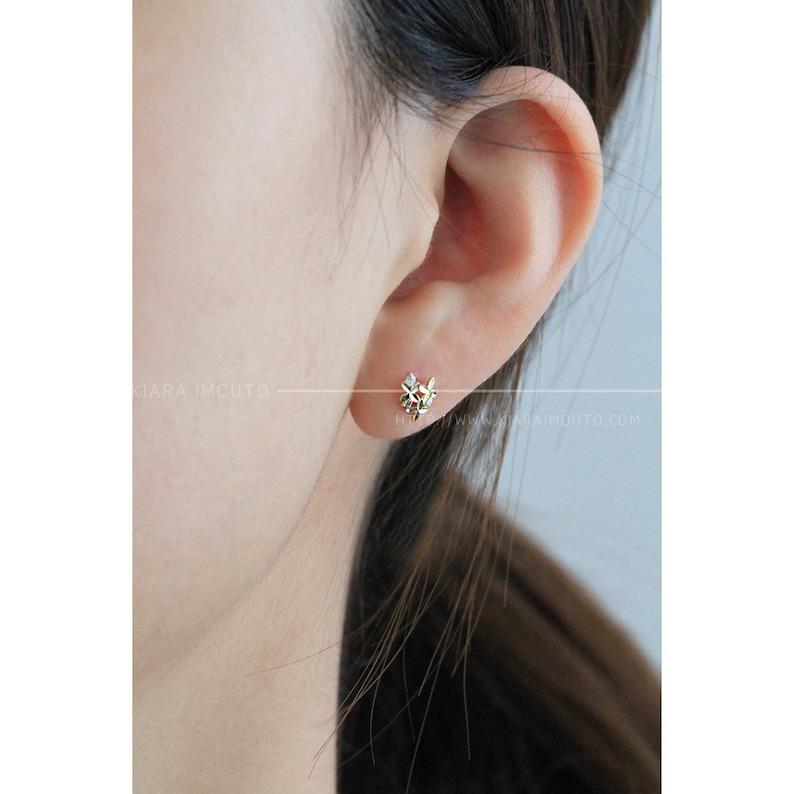 Floral Earrings Cubic Zirconia Earrings 9k Gold Small Bouquet Flowers Stud Earrings Cz Diamond Flower Earrings Crystal Flower Earrings
