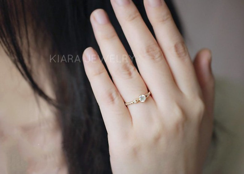 Pure 14K gold classic six claw large zirconium drill row set row diamond ring female atmosphere marriage ring