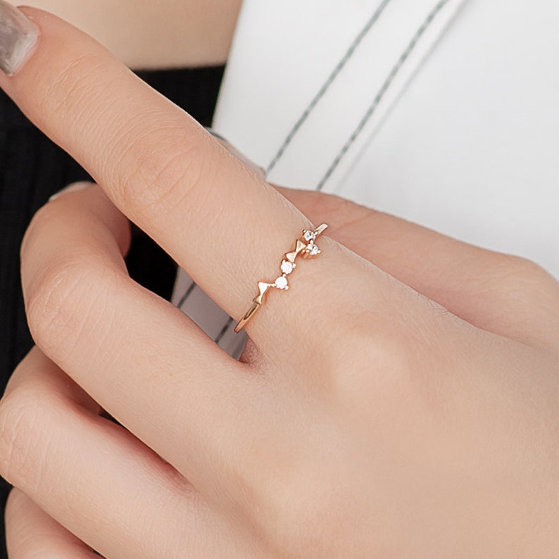 Bow Gold Ring 14K Gold Ring Rings for Men and Women Engagement Rings Dainty Rings Wedding Rings Bow Diamond Ring Bow Gemstone Ring