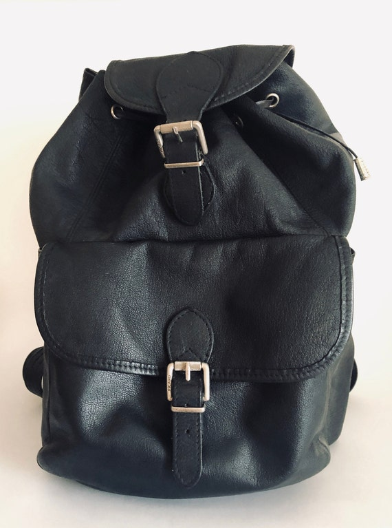 Vintage leather backpack, retro backpack, adjustab