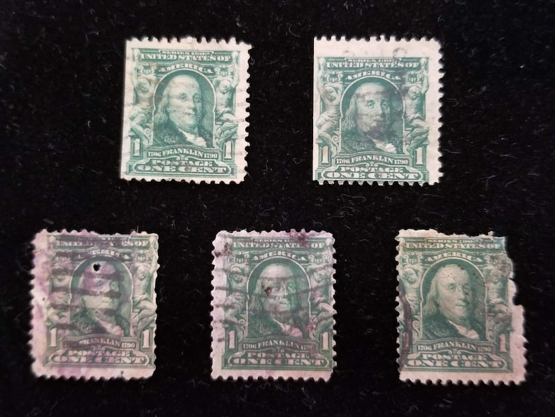 Series 1902 1 Cent Benjamin Franklin Stamps 5