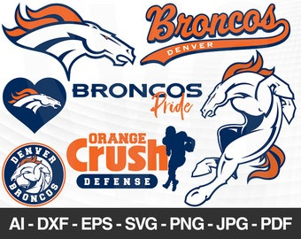 Denver Broncos SVG Files Logo Football Silhouette Cameo Cricut Cut Digital Clipart Layers Png Dxf Ai
