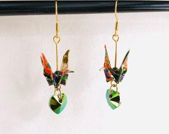Origami crane bird earrings, Swarovski crystal hearts, quirky dangle earrings, Japanese paper art earrings, unique gift for her, Etsy UK