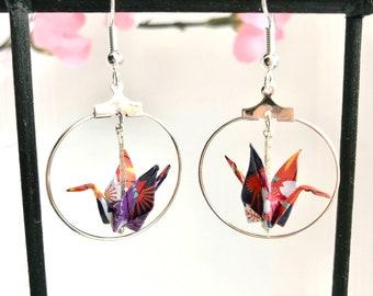 Quirky origami crane bird silver hoops, kimono pattern paper cranes, Japanese crane art, unique best friend gift, Etsy UK