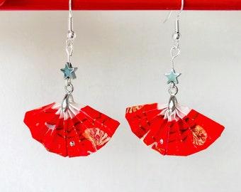 Origami fan earrings, Japanese paper style, Christmas silver star earrings,  unique gift for her, teacher gift, Etsy UK