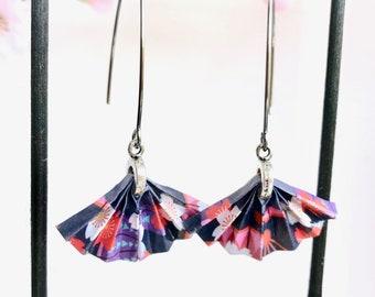 Quirky threader earrings, large statement earrings, Japanese origami fan, unique Secret Santa gift, Statement earrings, Etsy UK