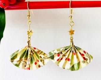 Origami fan earrings, quirky Christmas earrings, Japanese style, statement earrings, gold stars, unique gift, teacher gift, Etsy UK