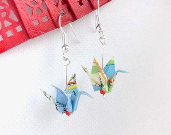 Quirky upcycled map earrings, Japanese origami crane bird earrings, custom option, birthstone option, eco traveller, teacher gift, Etsy UK