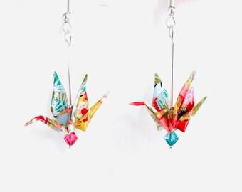 Origami paper crane bird earrings, Japanese kawaii cool, Swarovski crystals, birthday gift, 1st anniversary, statement earrings, Etsy UK