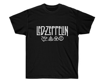 8a1d6697914 Led Zeppelin Logo Big Print White Unisex TShirt Stairway To Heaven Rock  Band Merch Tee