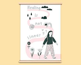 """Print """"Healing is not linear"""", A5 art print"""