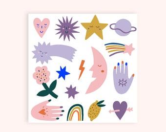 "Temporary Tattoos Set ""Minis"" - Kids Tattoos green pink red"