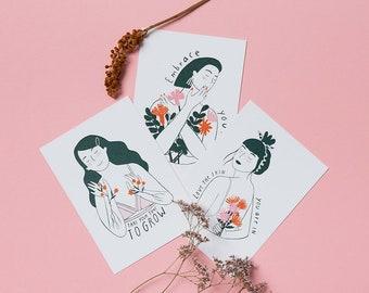 Girls Postcards Set, 3 Different Motifs A6