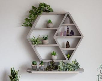 "HEXAGON Floating Shelf, 21""x18""x3.5"" , HONEYCOMB, Solid Wood Shelf, Hexagon Crystal Shelf, Essential oil shelf, Succulent shelf"