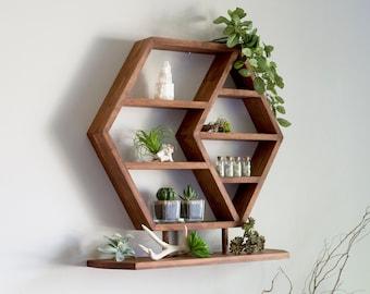 "HEXAGON Floating Shelf, 21""x18""x3.5"" OR 27""x23""x3.5"" , HONEYCOMB, Solid Wood Shelf, Crystal Shelf, Essential oil shelf, Succulent shelf"