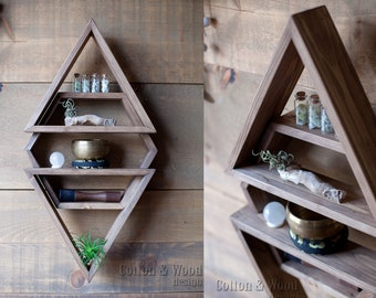 3D Floating Shelf 3in1, 3 pc , 1 Hexagon & 2 Triangles .  Solid Wood Shelves. Crystal shelf. Essential Oil Shelf.
