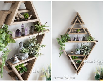"HEXAGON 3D Floating Display Shelf, 22.5""x35"" . Solid Wood Shelf, Hexagon Triangle Crystal Shelf, Essential oil shelf, Succulent shelf"