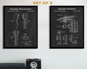 Trumpet Mouthpiece Patent Print Set - Set Of 2 Trumpet Patent Posters - Music Studio Decor - Trumpet Wall Art - Trumpeter Gift - Brass Art