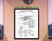 Selmer Trumpet - 8X10 Digital Download - Trumpeter Gift - 1930 39 s Music Wall Art - Paper Ephemera - Vintage Trumpet Decor - Trumpet Patent