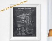 1939 Selmer Trumpet Patent Art Print - Personalized Print - Antique Brass Instrument Blueprint - Music Teacher Gift - Paper Ephemera