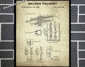1939 Selmer Trumpet Framed Patent Print - Framed Music Patent Print - Music Store Decor - Gift Idea For A Trumpeter - 1930 39 s Music Poster