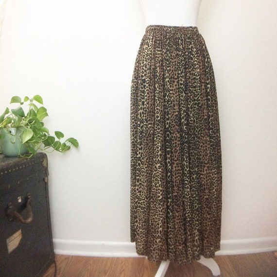 Vintage Cheetah Animal Print Maxi Skirt
