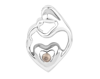 Mother & child pendant in silver with a Rose Quartz